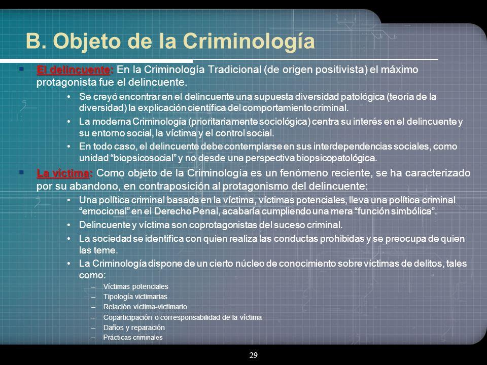 B. Objeto de la Criminología