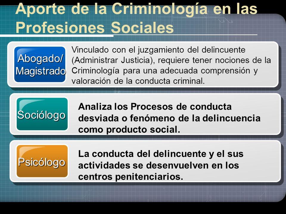 Aporte de la Criminología en las Profesiones Sociales