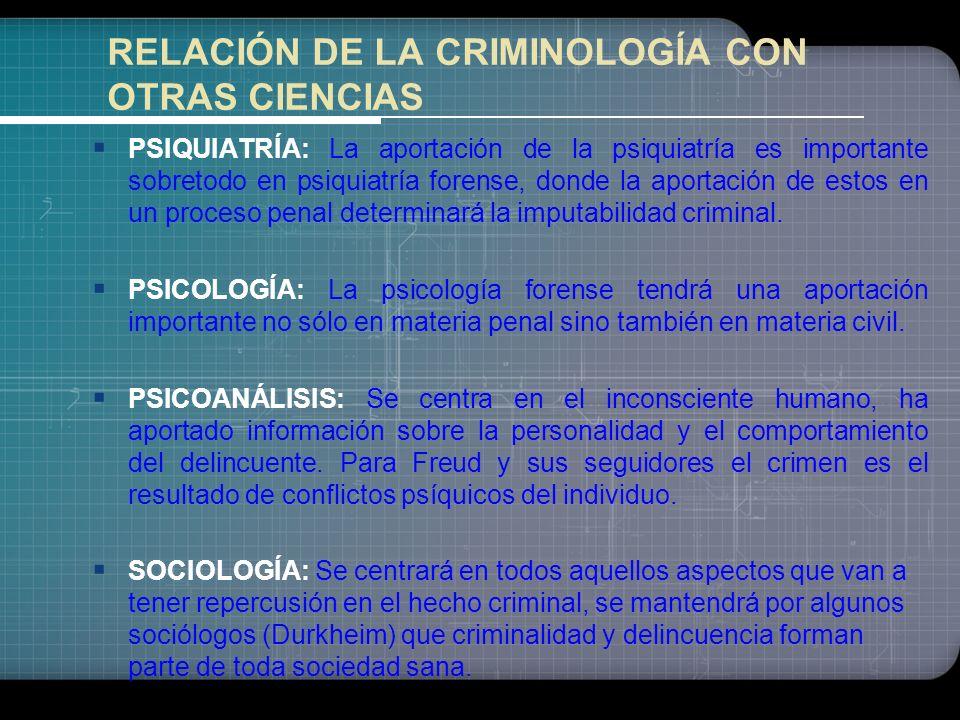 RELACIÓN DE LA CRIMINOLOGÍA CON OTRAS CIENCIAS
