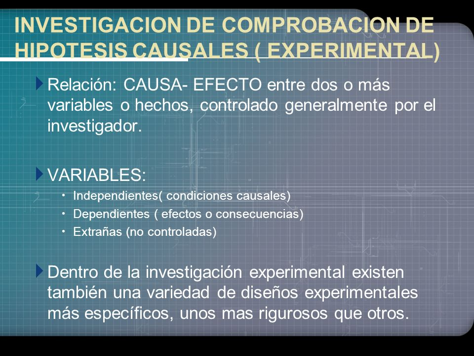 INVESTIGACION DE COMPROBACION DE HIPOTESIS CAUSALES ( EXPERIMENTAL)