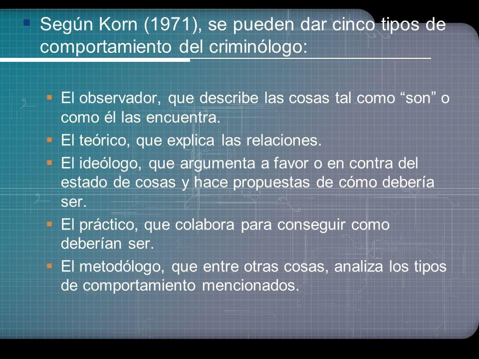 Según Korn (1971), se pueden dar cinco tipos de comportamiento del criminólogo: