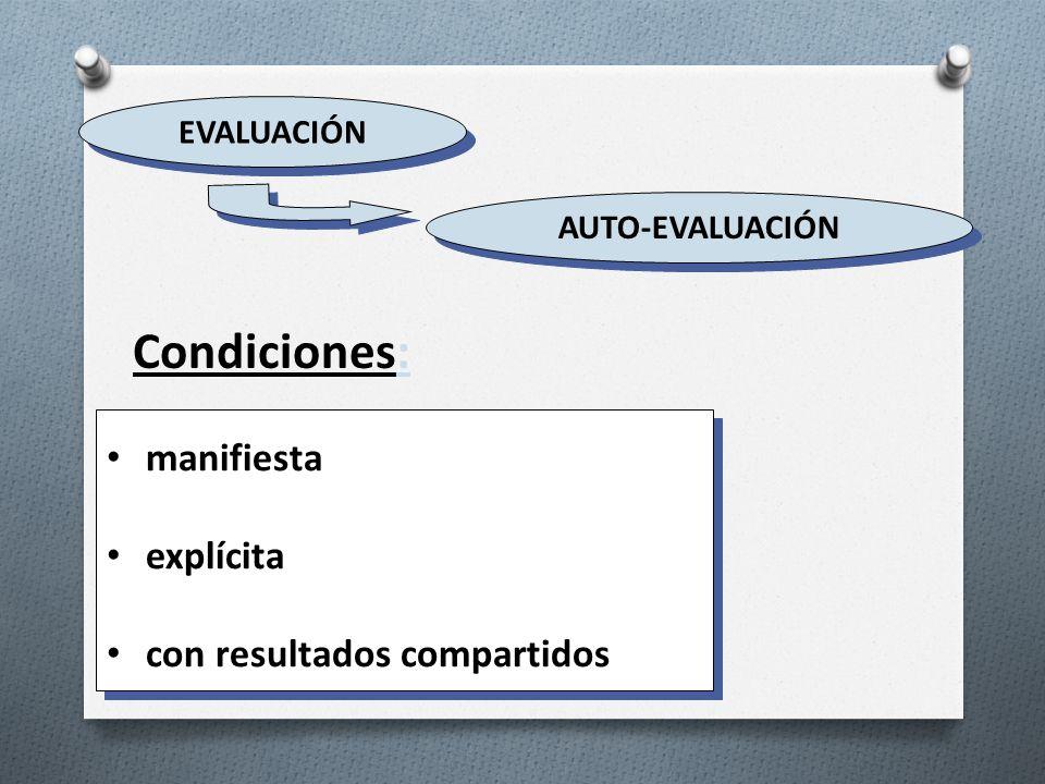 Condiciones: manifiesta explícita con resultados compartidos