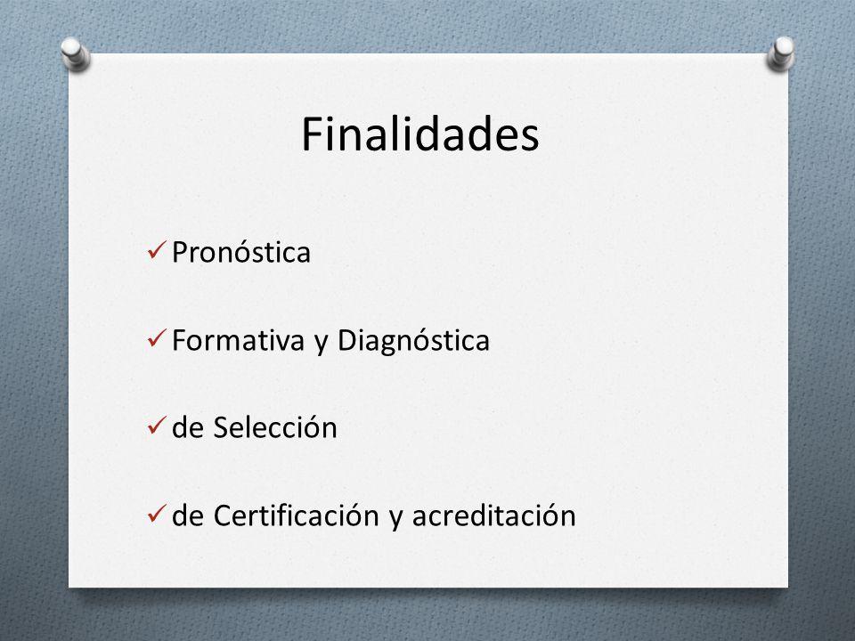 Finalidades Pronóstica Formativa y Diagnóstica de Selección
