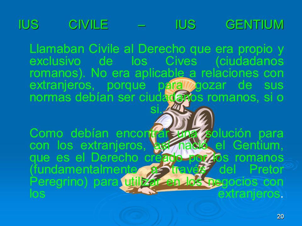 IUS CIVILE – IUS GENTIUM Llamaban Civile al Derecho que era propio y exclusivo de los Cives (ciudadanos romanos).