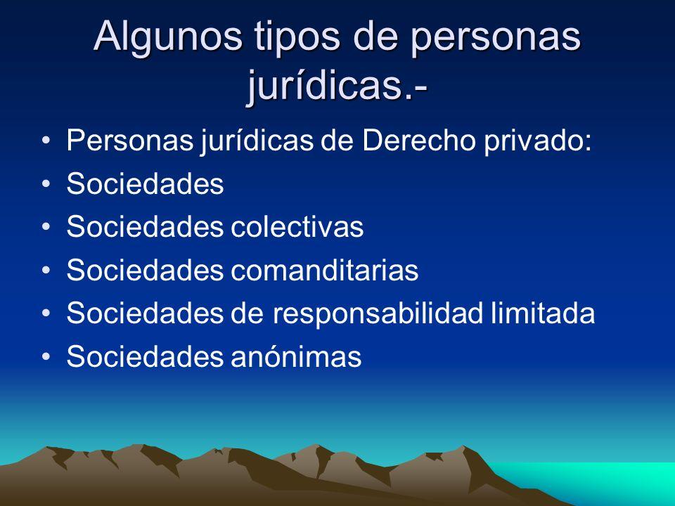 Algunos tipos de personas jurídicas.-