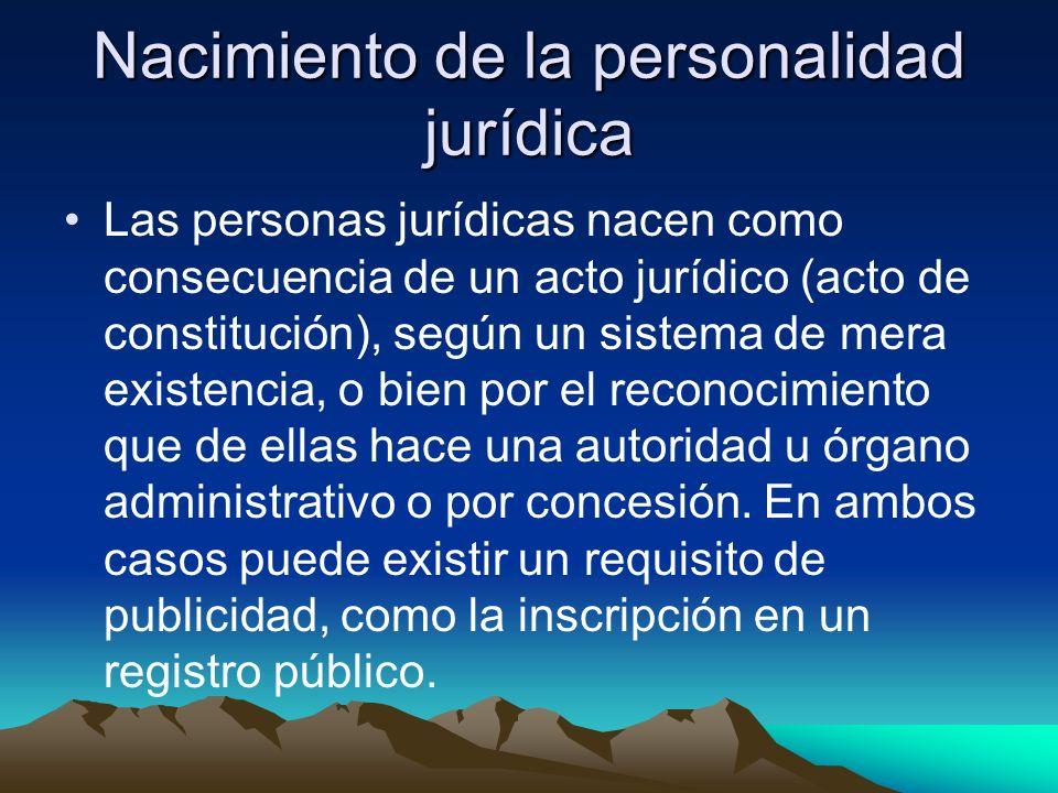 Nacimiento de la personalidad jurídica