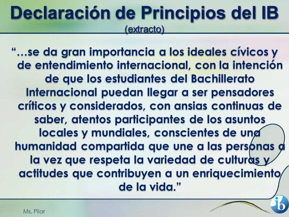 Declaración de Principios del IB (extracto)