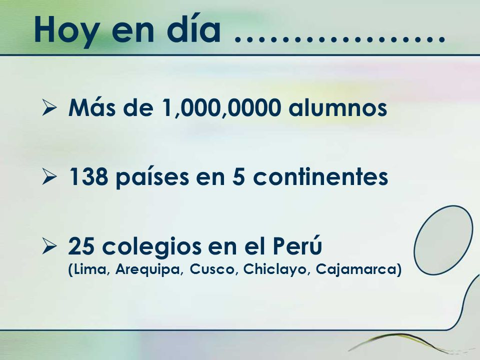 Hoy en día ……………… Más de 1,000,0000 alumnos