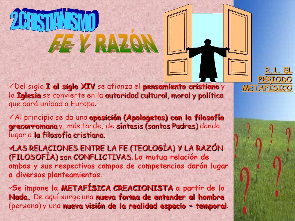 2.CRISTIANISMO FE Y RAZÓN 2.1. EL PERIODO METAFÍSICO