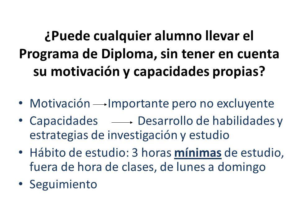 ¿Puede cualquier alumno llevar el Programa de Diploma, sin tener en cuenta su motivación y capacidades propias