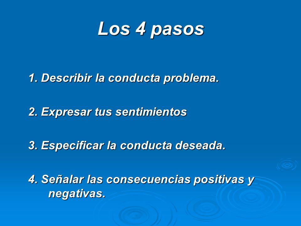 Los 4 pasos 1. Describir la conducta problema.