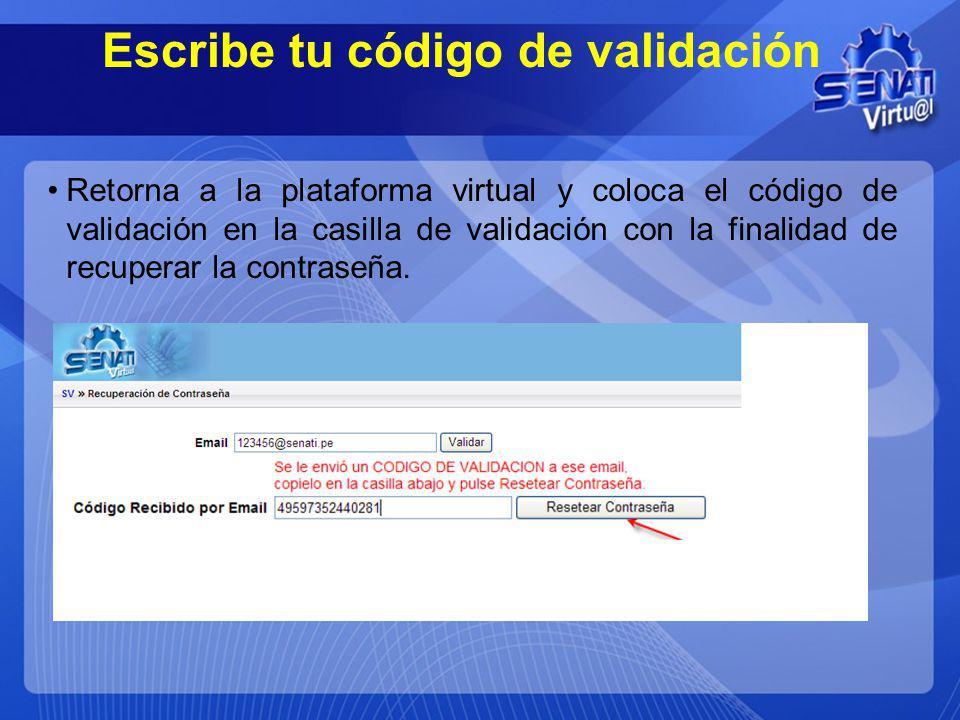 Escribe tu código de validación