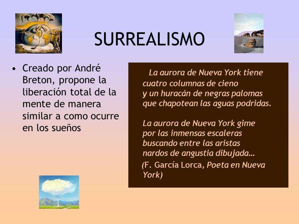SURREALISMO Creado por André Breton, propone la liberación total de la mente de manera similar a como ocurre en los sueños.