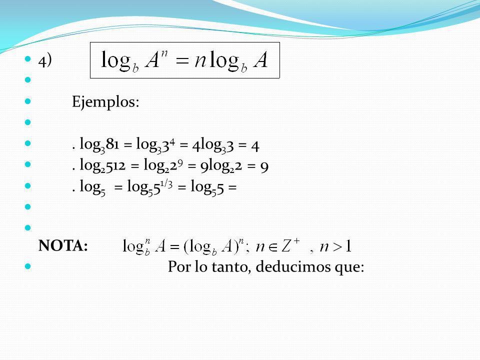 4) Ejemplos: . log381 = log334 = 4log33 = 4. . log2512 = log229 = 9log22 = 9. . log5 = log551/3 = log55 =