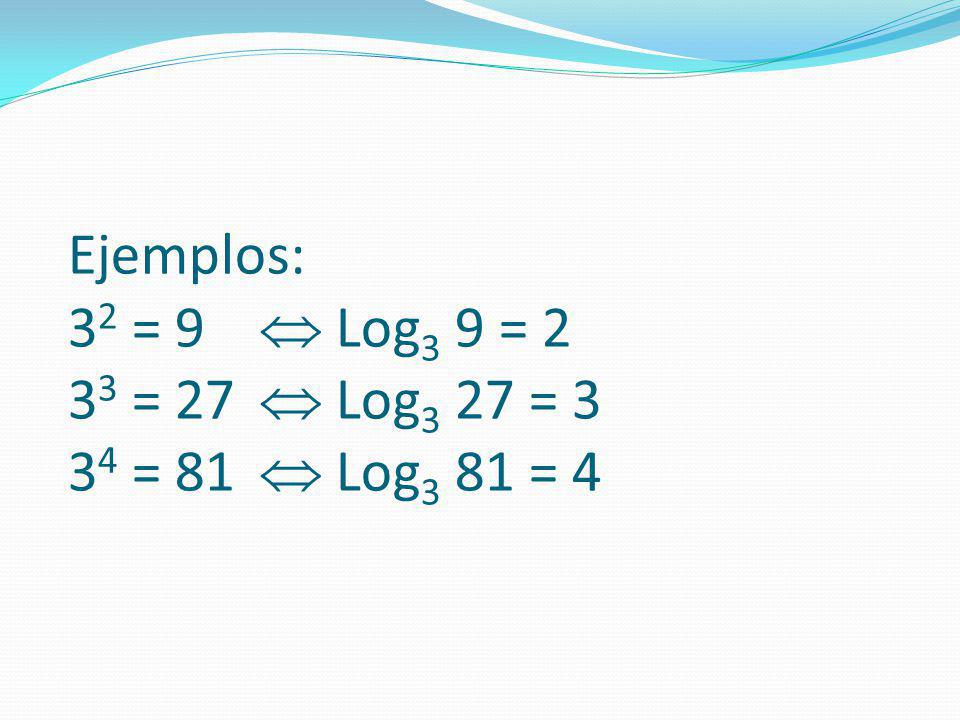 Ejemplos: 32 = 9.  Log3 9 = 2 33 = 27.  Log3 27 = 3 34 = 81