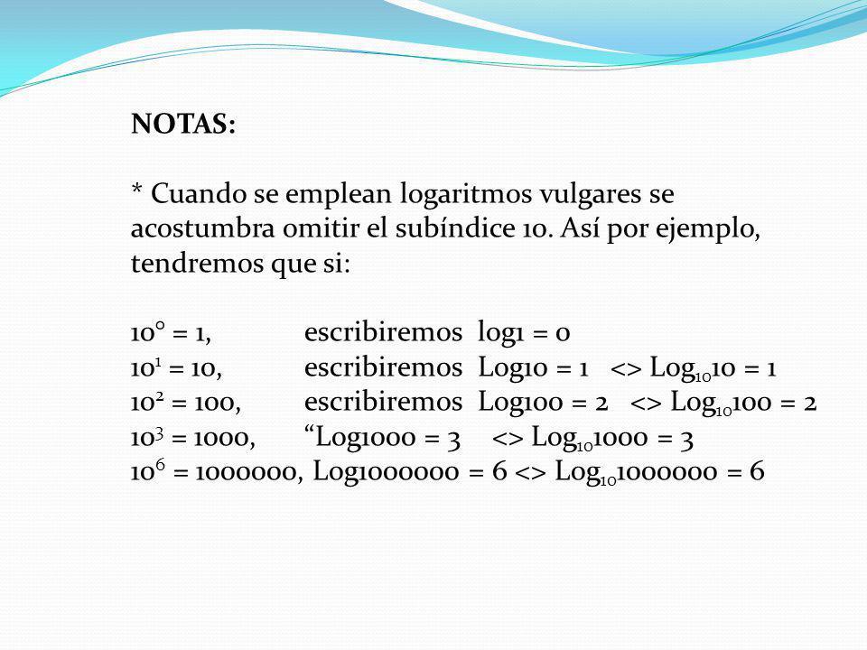 NOTAS: * Cuando se emplean logaritmos vulgares se acostumbra omitir el subíndice 10. Así por ejemplo, tendremos que si: