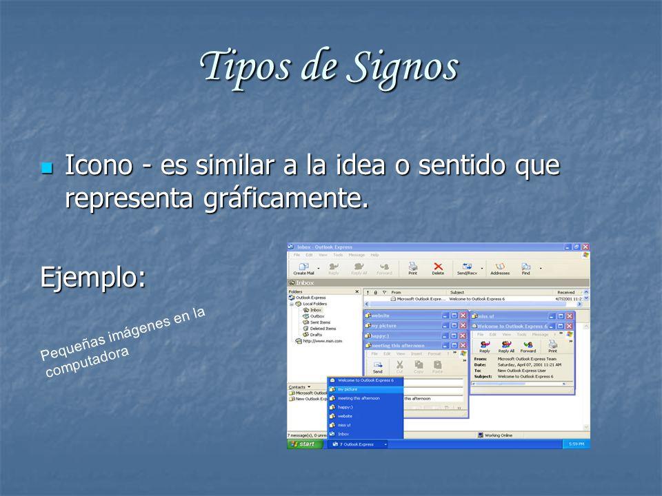 Tipos de Signos Icono - es similar a la idea o sentido que representa gráficamente.