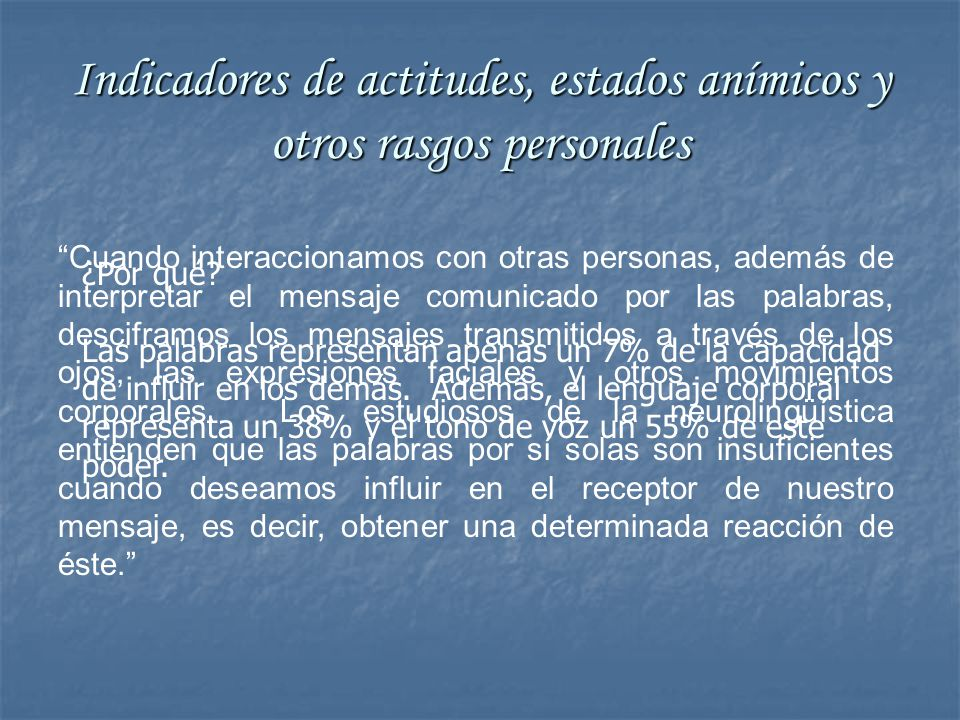 Indicadores de actitudes, estados anímicos y otros rasgos personales