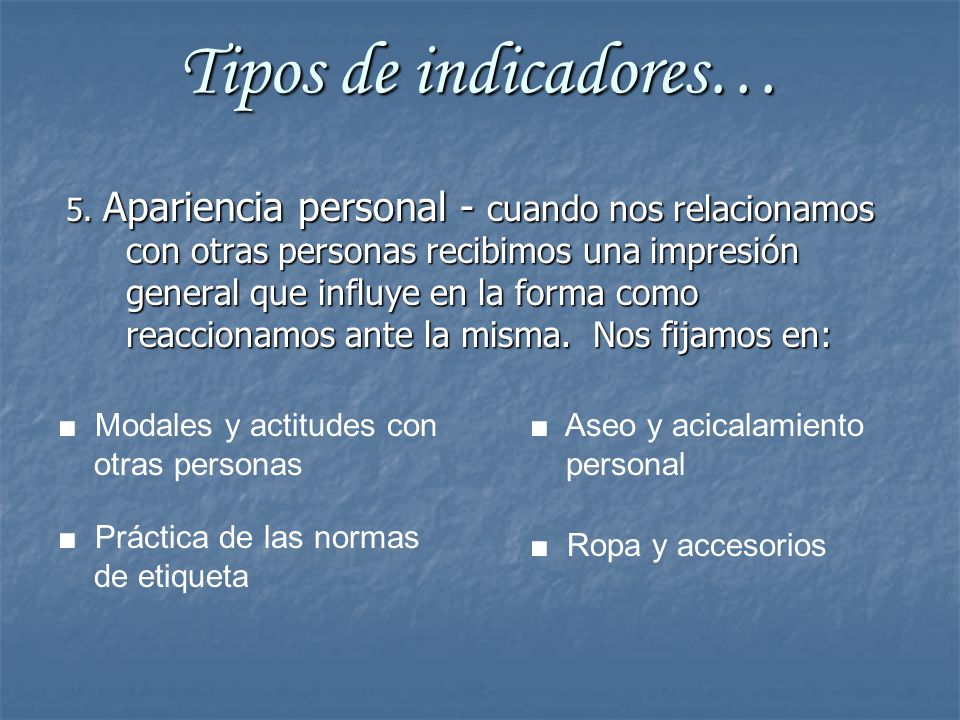 Tipos de indicadores…