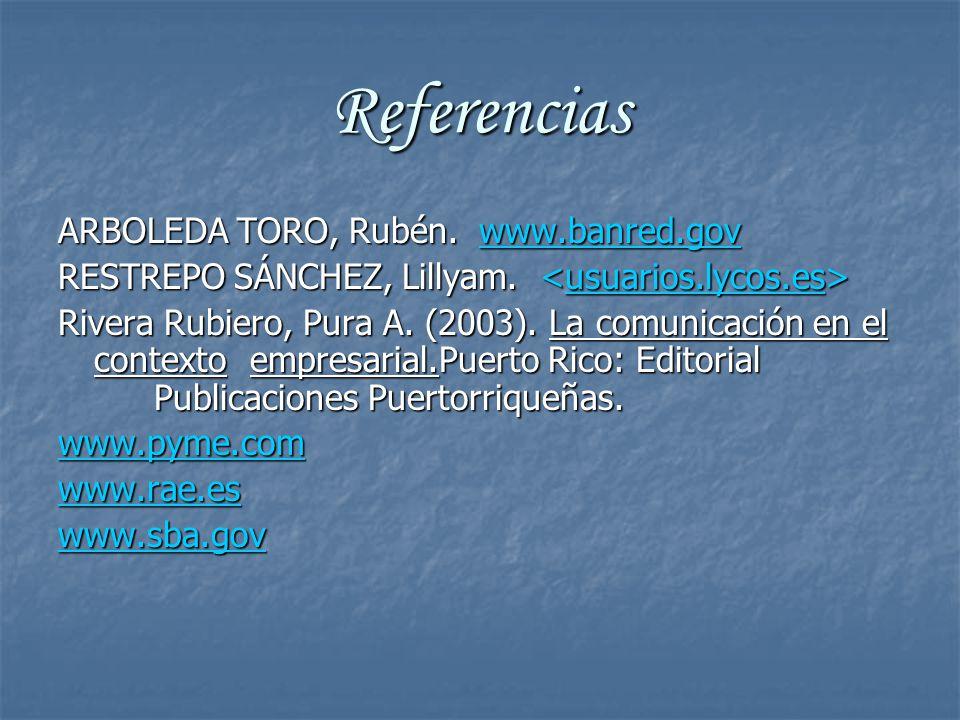 Referencias ARBOLEDA TORO, Rubén. www.banred.gov