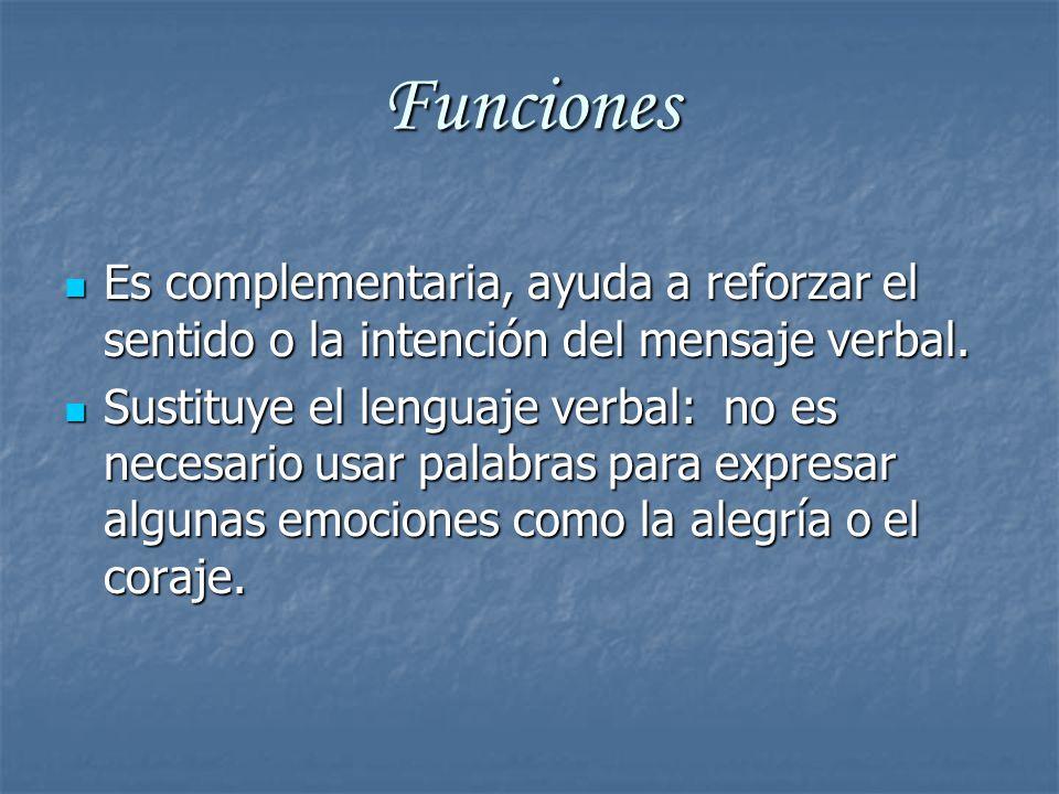 Funciones Es complementaria, ayuda a reforzar el sentido o la intención del mensaje verbal.