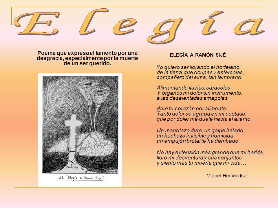 ElegíaPoema que expresa el lamento por una desgracia, especialmente por la muerte de un ser querido.