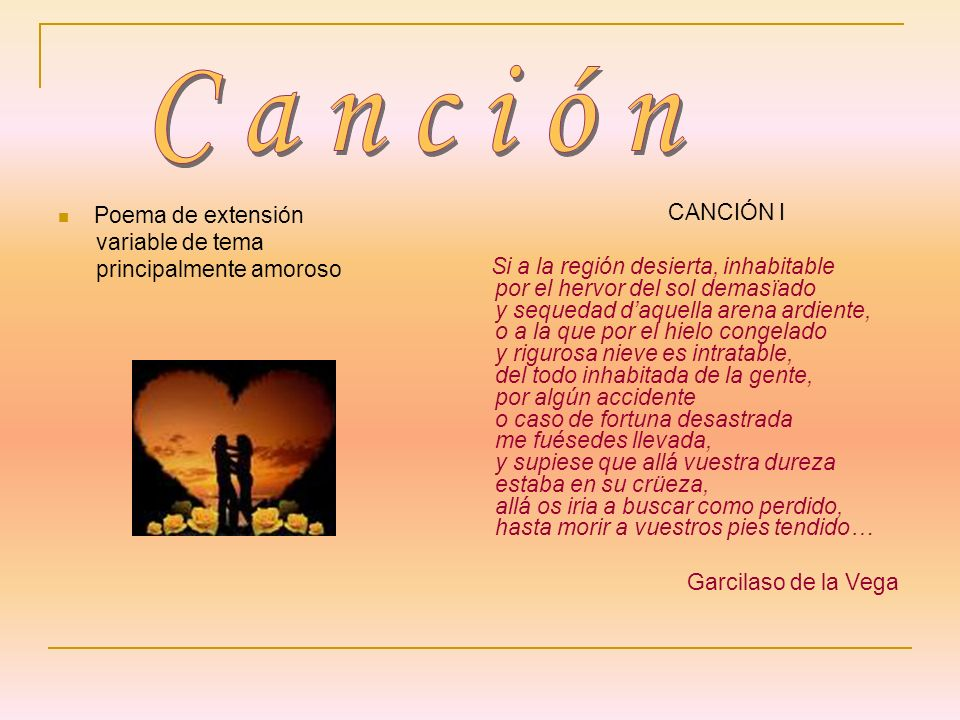 Canción CANCIÓN I Poema de extensión