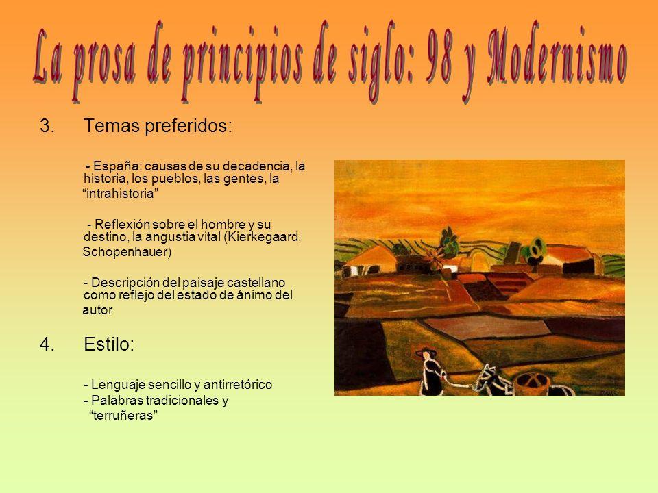 La prosa de principios de siglo: 98 y Modernismo