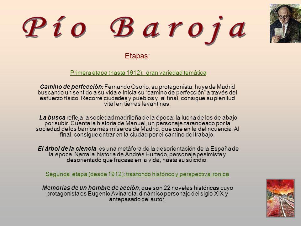 Pío Baroja Etapas: Primera etapa (hasta 1912): gran variedad temática