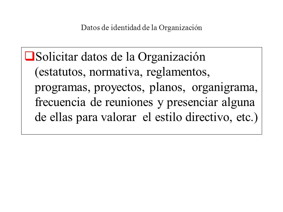 Datos de identidad de la Organización