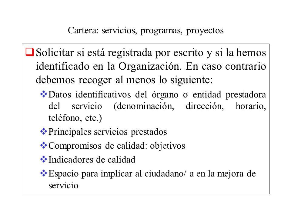 Cartera: servicios, programas, proyectos