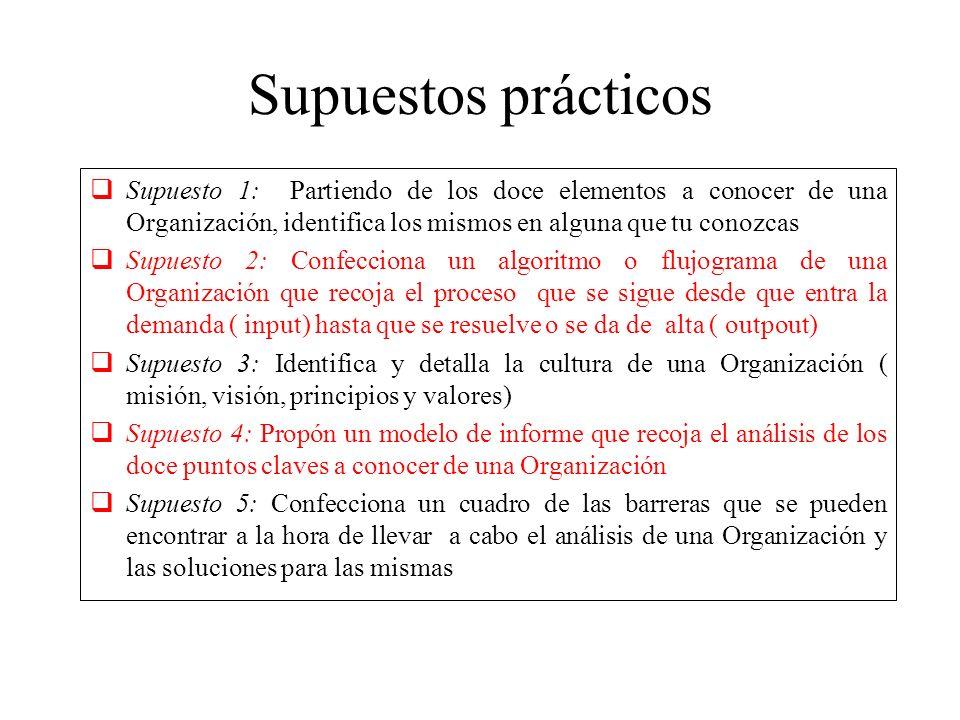 Supuestos prácticos Supuesto 1: Partiendo de los doce elementos a conocer de una Organización, identifica los mismos en alguna que tu conozcas.
