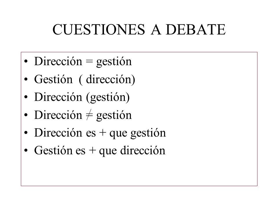 CUESTIONES A DEBATE Dirección = gestión Gestión ( dirección)