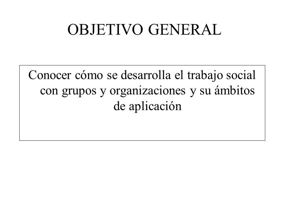 OBJETIVO GENERAL Conocer cómo se desarrolla el trabajo social con grupos y organizaciones y su ámbitos de aplicación.