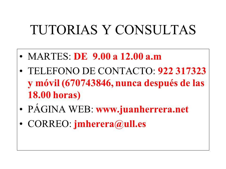 TUTORIAS Y CONSULTAS MARTES: DE 9.00 a 12.00 a.m
