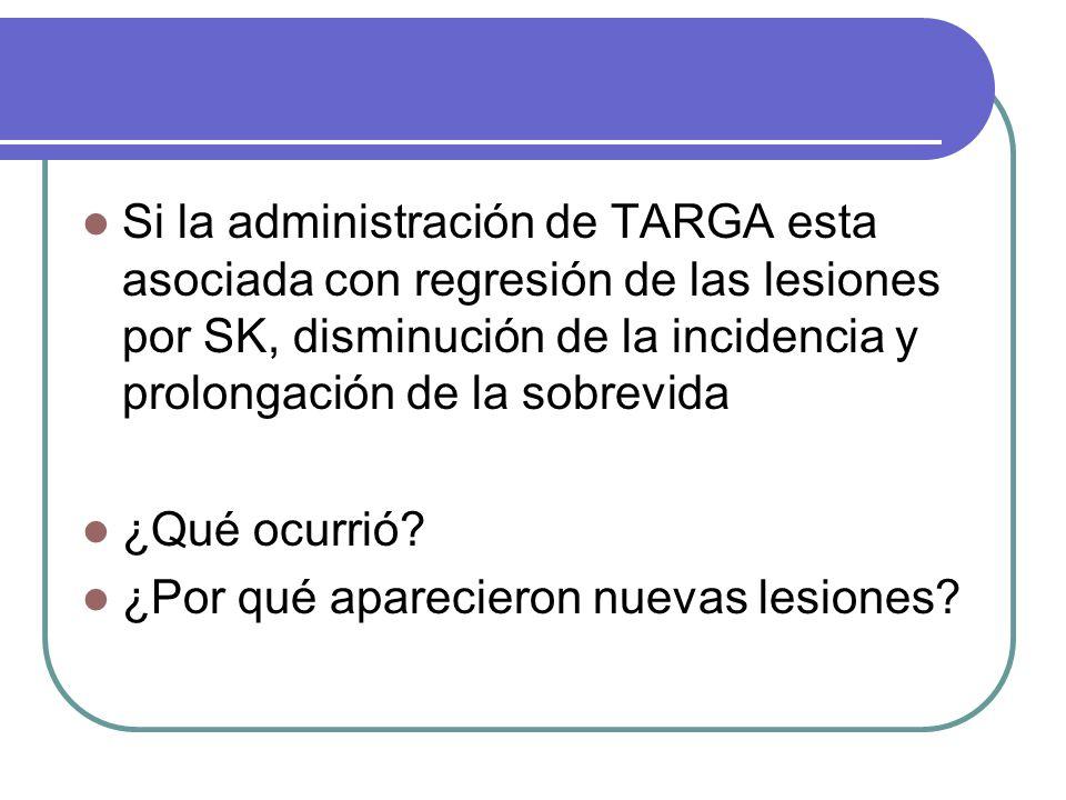 Si la administración de TARGA esta asociada con regresión de las lesiones por SK, disminución de la incidencia y prolongación de la sobrevida