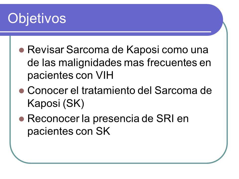 Objetivos Revisar Sarcoma de Kaposi como una de las malignidades mas frecuentes en pacientes con VIH.