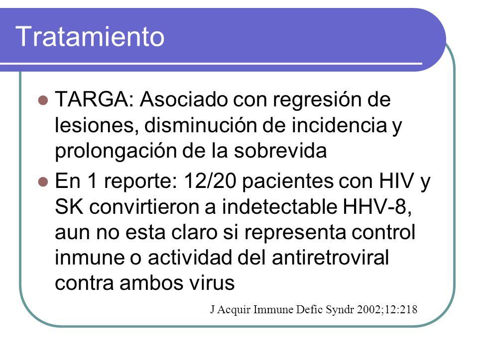 Tratamiento TARGA: Asociado con regresión de lesiones, disminución de incidencia y prolongación de la sobrevida.