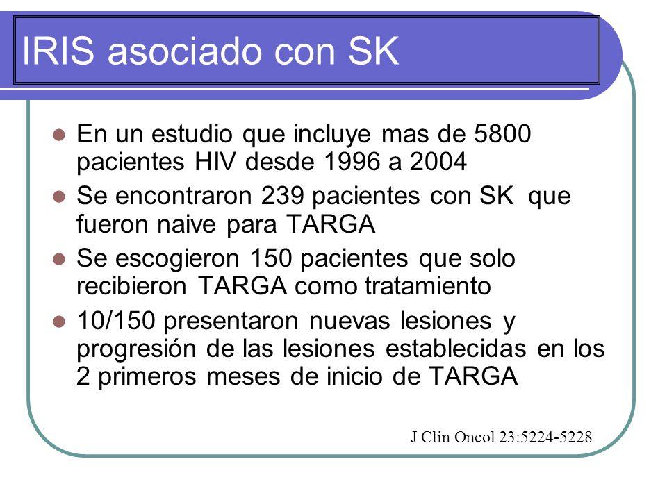 IRIS asociado con SK En un estudio que incluye mas de 5800 pacientes HIV desde 1996 a 2004.