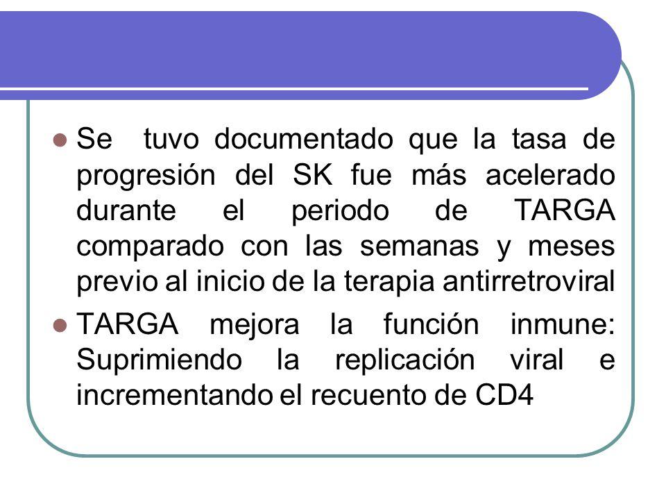 Se tuvo documentado que la tasa de progresión del SK fue más acelerado durante el periodo de TARGA comparado con las semanas y meses previo al inicio de la terapia antirretroviral