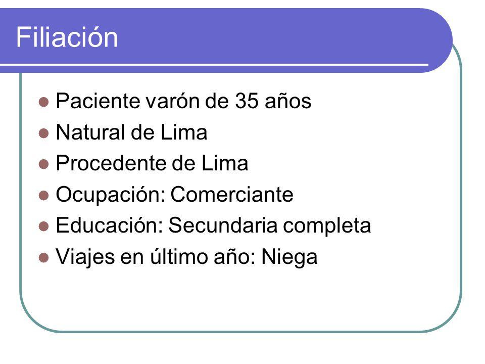 Filiación Paciente varón de 35 años Natural de Lima Procedente de Lima