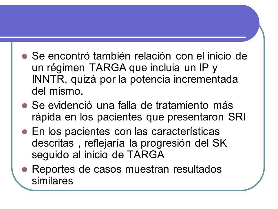 Se encontró también relación con el inicio de un régimen TARGA que incluia un IP y INNTR, quizá por la potencia incrementada del mismo.