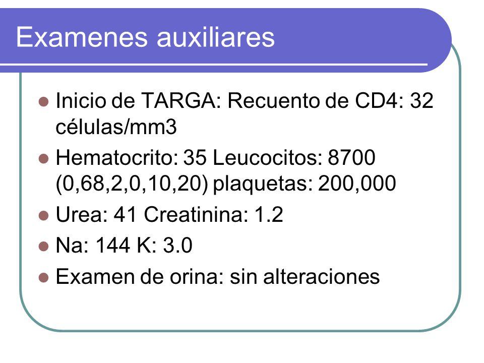 Examenes auxiliares Inicio de TARGA: Recuento de CD4: 32 células/mm3
