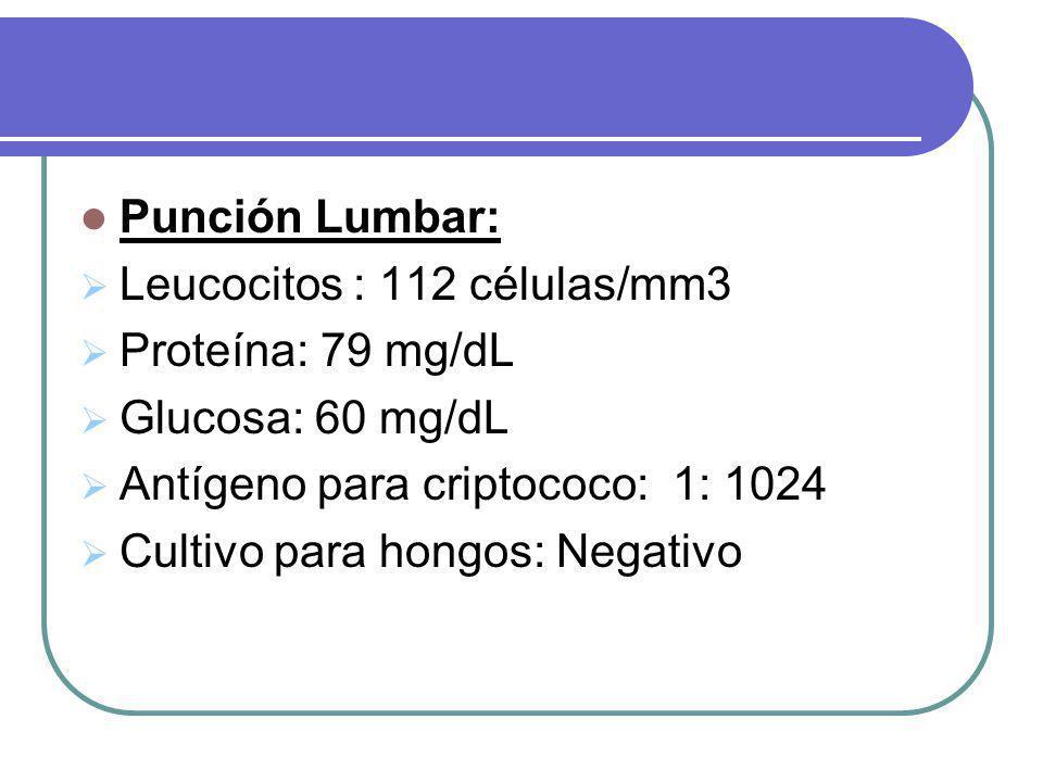 Punción Lumbar: Leucocitos : 112 células/mm3. Proteína: 79 mg/dL. Glucosa: 60 mg/dL. Antígeno para criptococo: 1: 1024.