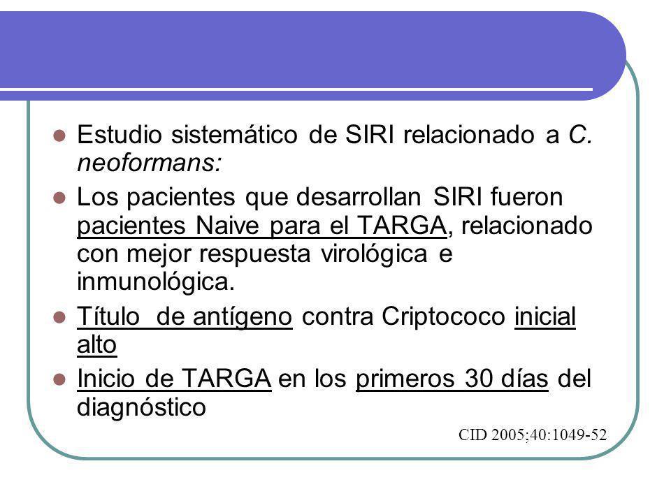 Estudio sistemático de SIRI relacionado a C. neoformans: