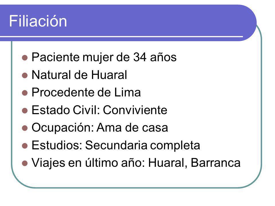 Filiación Paciente mujer de 34 años Natural de Huaral