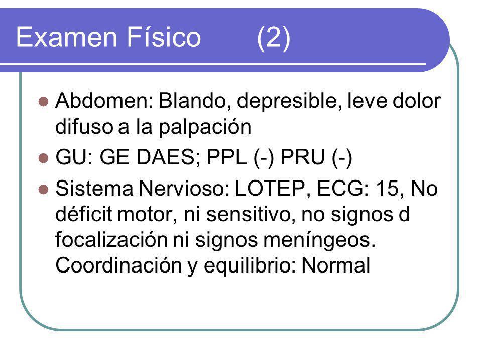 Examen Físico (2) Abdomen: Blando, depresible, leve dolor difuso a la palpación. GU: GE DAES; PPL (-) PRU (-)