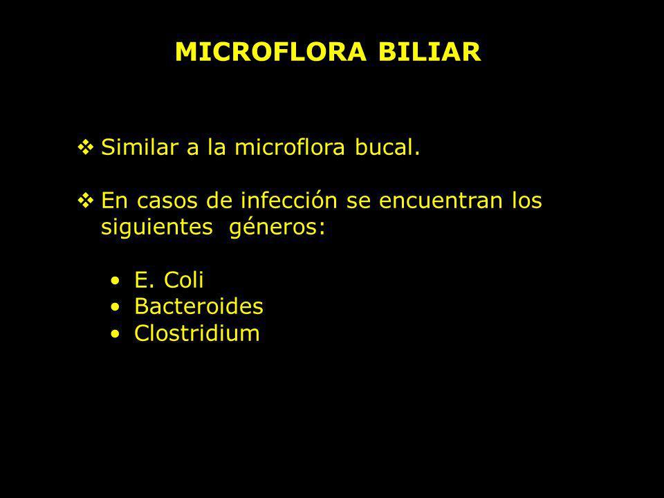 MICROFLORA BILIAR Similar a la microflora bucal.