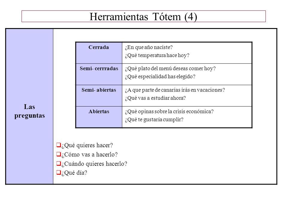 Herramientas Tótem (4) Las preguntas ¿Qué quieres hacer