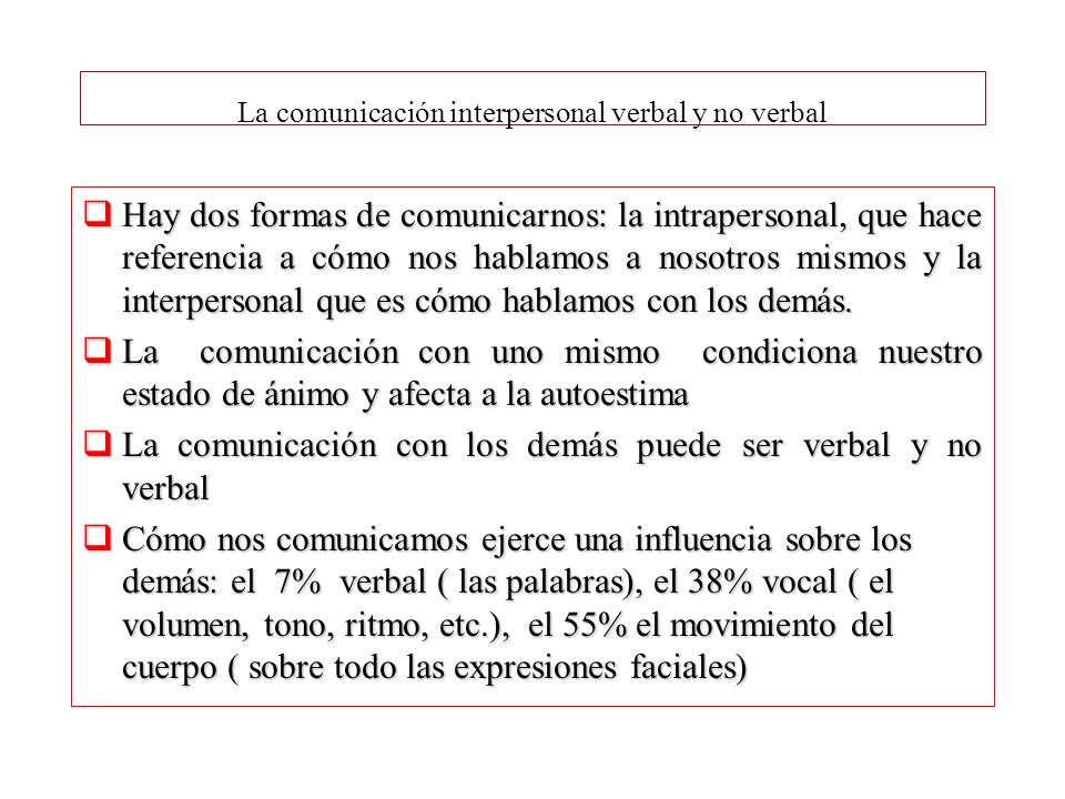 La comunicación interpersonal verbal y no verbal